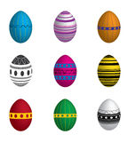 Easter eggs. Nine Easter eggs dyed with printing Stock Photo
