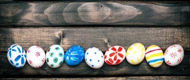 Easter eggs on old boards Royalty Free Stock Image