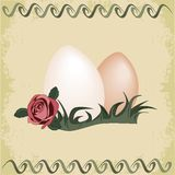 Easter eggs with old paper background. Illustration of easter eggs with ornaments and rose and old paper background Royalty Free Stock Photography