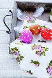 Easter eggs on an old tray Royalty Free Stock Images