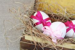 Easter Eggs in Old Wood Box Royalty Free Stock Image