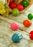 easter eggs on old wooden Stock Photos