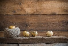 Easter eggs on wooden background. Easter eggs on old wooden background royalty free stock photo