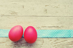 Easter eggs on old wooden background. Royalty Free Stock Photos