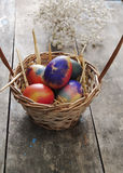 Easter eggs on a old wooden table Royalty Free Stock Photos