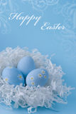 Easter Eggs On A Blue Background Stock Photo