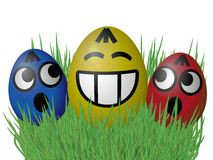 Free Easter Eggs On Grass Isolated On White Background Stock Photos - 50442253