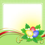 Easter Eggs On Green Card Royalty Free Stock Photo