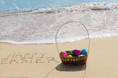 Easter Eggs On The Beach Stock Photos