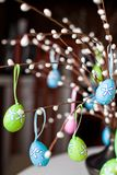 Easter Eggs On The Tree Stock Photos