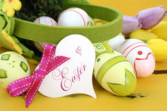 Easter Eggs On Yellow Wood Table Royalty Free Stock Photo