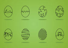 Easter eggs. In one line graphic style Stock Illustration