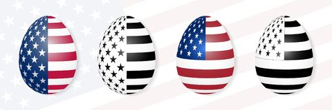 Easter eggs on the background of the USA flag. royalty free illustration