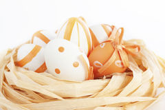 Easter eggs in orange tones Royalty Free Stock Photography