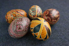 Easter eggs with ornament. Traditional Easter eggs with ornament on Easter, handmade Royalty Free Stock Images