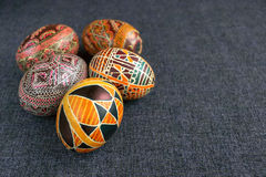 Easter eggs with ornament. Traditional Easter eggs with ornament on Easter, handmade Stock Image