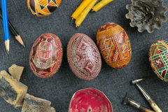 Easter eggs with ornament. Traditional Easter eggs with ornament on Easter, items for making Easter eggs Royalty Free Stock Photo
