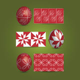 Easter Eggs and Ornamental Patterns. Set of Painted Red Easter Eggs Illustration in Freely Scalable and Editable Vector Format Royalty Free Stock Image