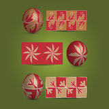 Easter Eggs and Ornamental Patterns. Set of Painted Red Easter Eggs and Their Patterns in Freely Scalable and Editable Vector Format Stock Photos