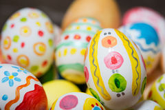Easter eggs with ornaments stock photography