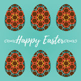 Easter eggs with ornaments or patterns. Vector illustration. Des Stock Images