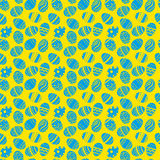 Easter eggs ornaments seamless pattern. Easter holiday blue and yellow background for printing on fabric, paper for scrapbooking, Royalty Free Stock Image