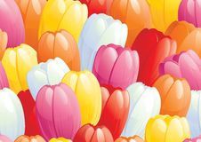 Easter eggs ouSeamless background of spring tulips Stock Photo