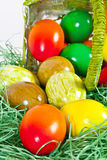 Easter eggs out of the basket. Some Colorful Easter Eggs did fall out of a green Basket royalty free stock images