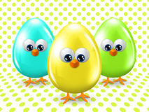 Easter eggs over dotted background Stock Photos