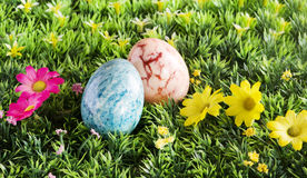 Easter eggs over spring background Royalty Free Stock Photos