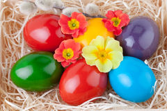 Easter Eggs over Straw decorated with Flowers Royalty Free Stock Image