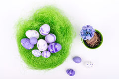 Easter eggs over white background - top view Royalty Free Stock Photo