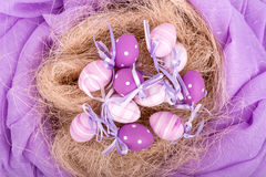 Easter eggs over white background - top view Stock Photos