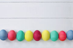 Easter Eggs Over Wood Table Top Stock Images