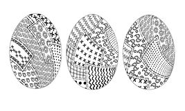 Easter eggs pachwork 3pz. Set of three easter eggs with a sketch of pieces of fabric in style patchwork vector black and white, holiday coloring Royalty Free Stock Image
