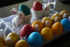 Easter eggs. Packed up to go visit reletives royalty free stock images