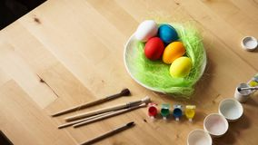 Easter Eggs and Paint Brush stock footage