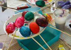 Easter eggs. Paint by kids Stock Image