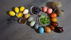Easter eggs paint with natural colors Royalty Free Stock Photo