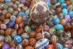 Easter eggs. Painted and adorned handmade Royalty Free Stock Photos