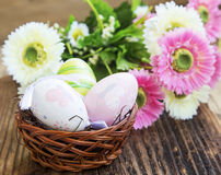 Easter Eggs Painted in a Basket Royalty Free Stock Photography