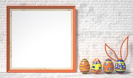 Easter eggs painted and blank picture frame. Easter concept. 3D Royalty Free Stock Photography