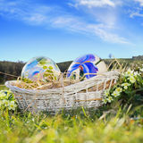 Easter eggs painted and blue sky Stock Images