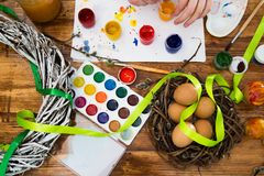 Easter eggs painted with bright paint stock images