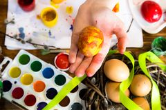 Easter eggs painted with bright paint stock image