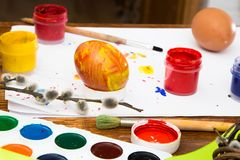 Easter eggs painted with bright paint stock photo
