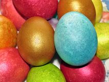 Easter eggs, painted in different colors with pearly shimmer Stock Images