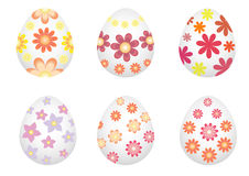 Easter eggs painted with flowers. Stock Photos
