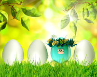 Easter eggs painted, with flowers over spring background Royalty Free Stock Photography