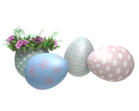 Easter eggs painted, with flowers Stock Photography